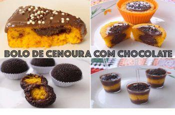 RECEITA: 4 FORMAS DE FAZER BOLO DE CENOURA COM CHOCOLATE