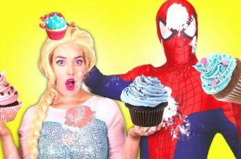 Spiderman vs Frozen Elsa CUPCAKE Battle! w/ Pink Spidergirl, Disney Princess Cinderella & Joker :)