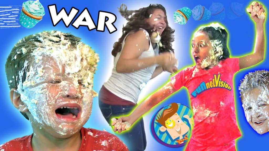 CRAZY INDOOR CUPCAKE FOODFIGHT!  Attack of the Frosting!  (FUNnel Vision Kids Get Messy Part 2) 6 Vídeo do Canal FUNnel Vision no Youtube, publicado em 2015-08-28 11:10:07 e com 8358304 views Vivendo de Brigadeiro