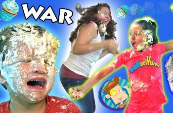 CRAZY INDOOR CUPCAKE FOODFIGHT!  Attack of the Frosting!  (FUNnel Vision Kids Get Messy Part 2)