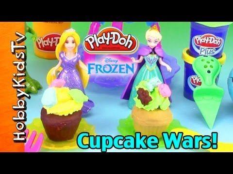 Disney FROZEN Princess Play-Doh CUPCAKE WARS! Elsa Rapunzel Cookie Monster Rex by HobbyKidsTV 4 Vídeo do Canal HobbyKidsTV no Youtube, publicado em 2014-03-27 16:46:16 e com 257568 views Vivendo de Brigadeiro