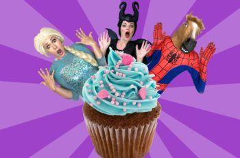 Elsa Frozen and SPiderman CUPCAKE Battle! w/ Pink Spidergirl, Disney Princess Cinderella & Joker :)