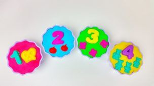 Learn Numbers With Surprise Play Doh CupCake Hello Kitty Maya Disney Frozen Cars