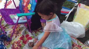 Frozen in the park and bday cupcake for Jaylie