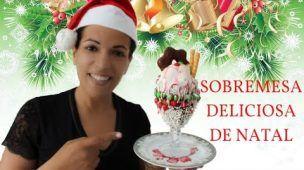 SOBREMESA DELICIOSA DE NATAL NA TAÇA COM NUTELLA E CHOCOLATE M&MS DA DUDI