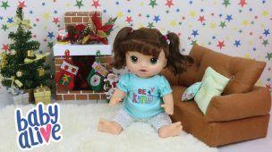 Baby Alive Sophia Doces Lágrimas Decorando a Sala Para o Natal Baby Alive For Fun