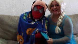 Frozen Queen Elsa Spider-man Giant Cupcake BATTLE vs Joker Pink Spidergirl Funny Superhero