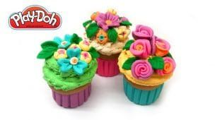 Play Doh Cupcake. DIY Flower Cupcakes Tutorial. How to make with Clay, Dough, Playdough
