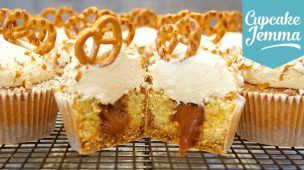 Pretzel & Salted Caramel Cupcakes Collab with The Boy Who Bakes | Cupcake Jemma
