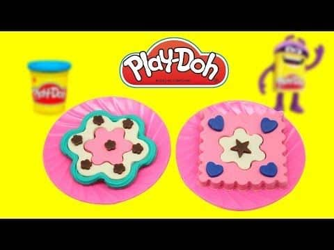PlayDoh Cupcake Cookies - flower and square cookies from Play doh TV