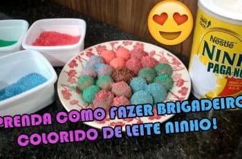 COMO FAZER BRIGADEIRO COLORIDO DE LEITE NINHO | Como fazer fácil #Receitas 3