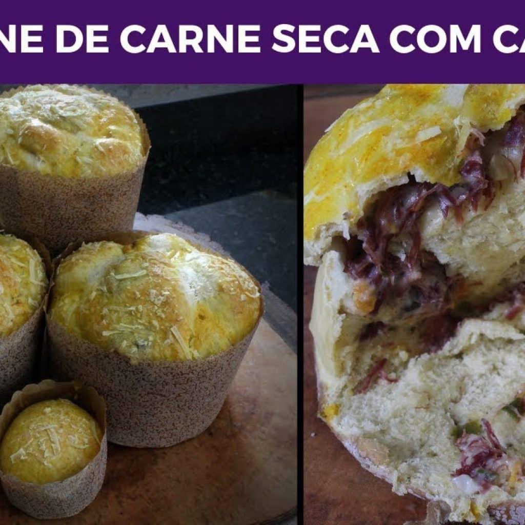 RECEITA DE PANETONE SALGADO DE CARNE SECA COM CATUPIRY - DE FRENTE COM MARCITA