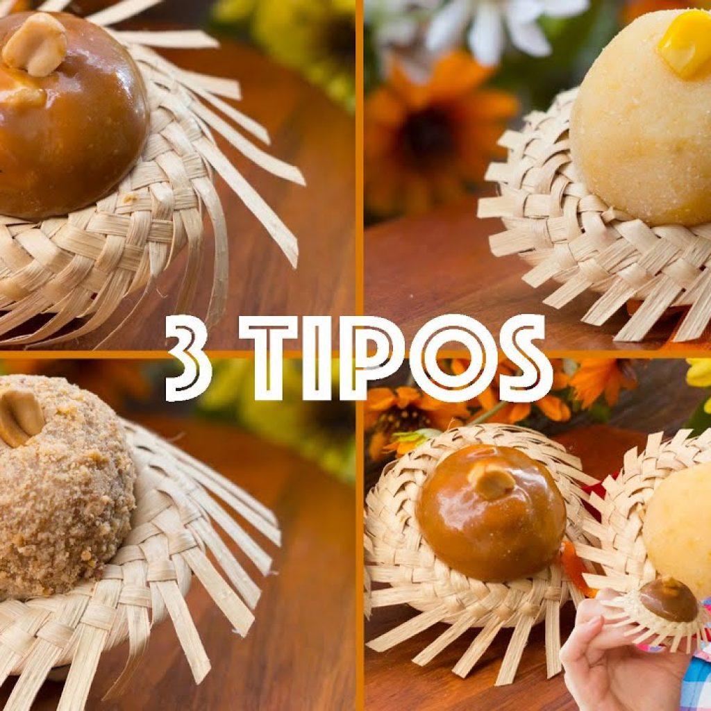 3 TIPOS DE BRIGADEIRO DE FESTA JUNINA: milho, pé de moleque, paçoca: Cozinha do Bom Gosto Gabi Rossi