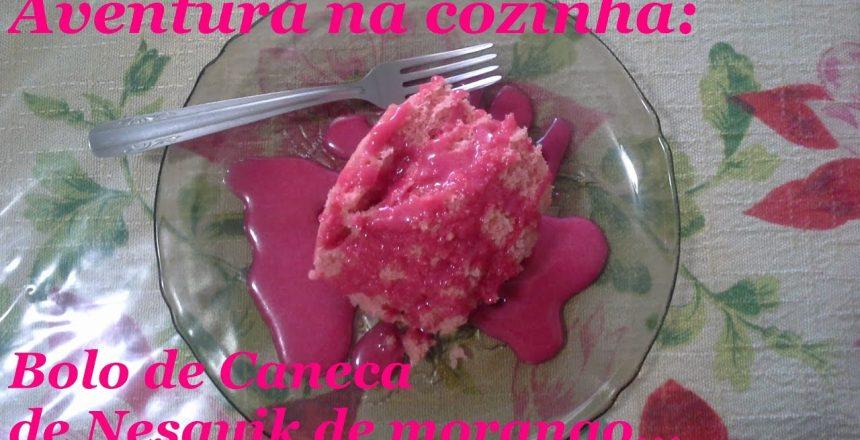 Aventura na cozinha: Bolo de Caneca de Nesquik de Morango...