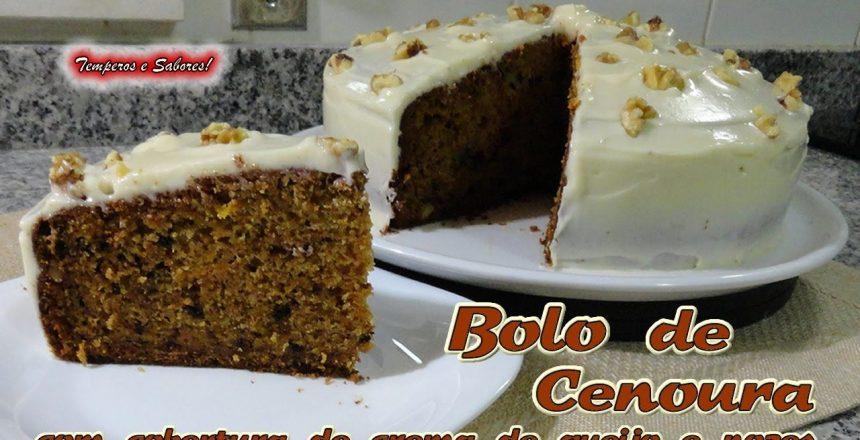 BOLO DE CENOURA com cobertura de creme de queijo, fácil e delicioso