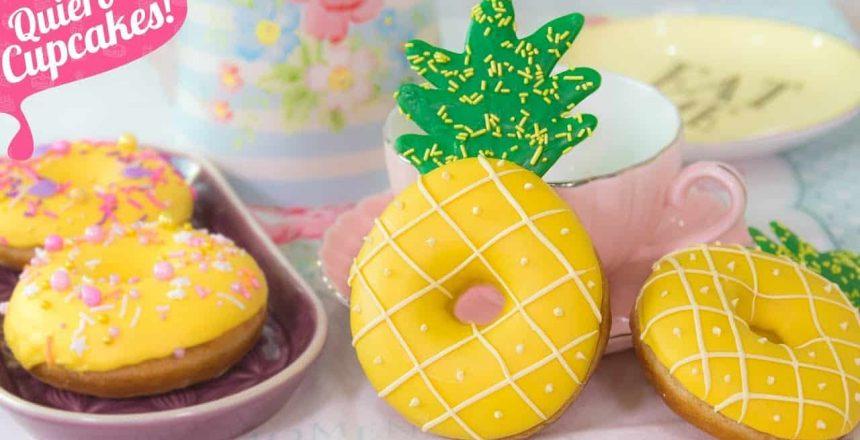 DONAS o DONUTS FÁCILES en forma de PIÑA | Quiero Cupcakes!