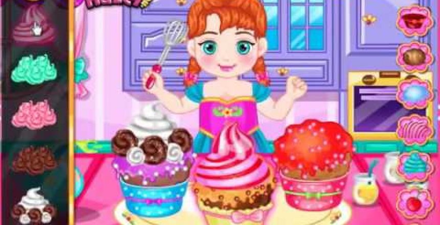 Frozen Anna Disney -Frozen Baby Anna Princess cupcake Videos Games for Kids