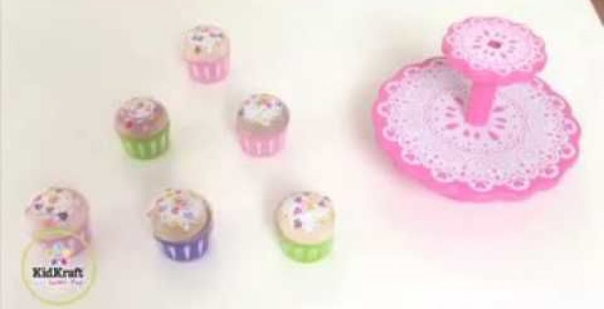 Girls Toy Pink Cupcake Stand And Cupcakes By KidKraft 63172