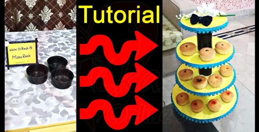 How to Make DIY Cupcake Stand Using Cardboard Tutorial - Dilkash.pk Online Store
