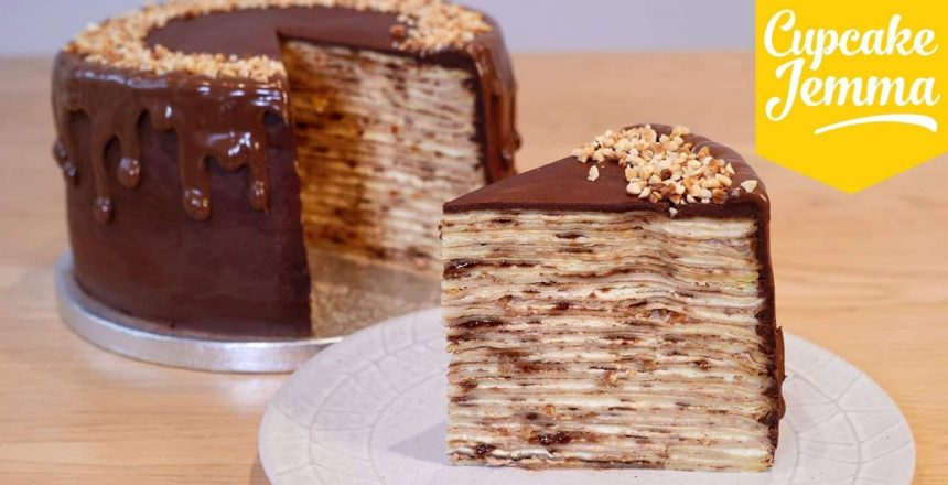 How to Make an EPIC Nutella Crepe Pancake Cake! | Cupcake Jemma