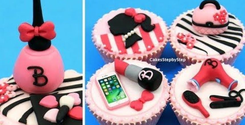 MAKEUP Barbie Cupcakes | Cake Toppers | How to make by Cakes StepbyStep