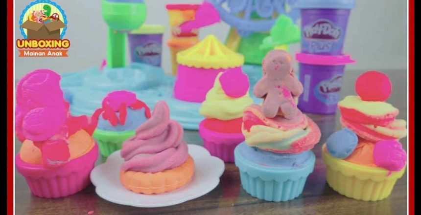 Mainan Anak Play Doh Cupcake Rainbow Frosting Celebration - How To Make Cupcake With Toy