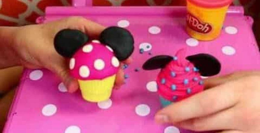 Minnie Mouse Cupcake Cart & Tea Party Set Tutorial With Play-Doh ᴴᴰ