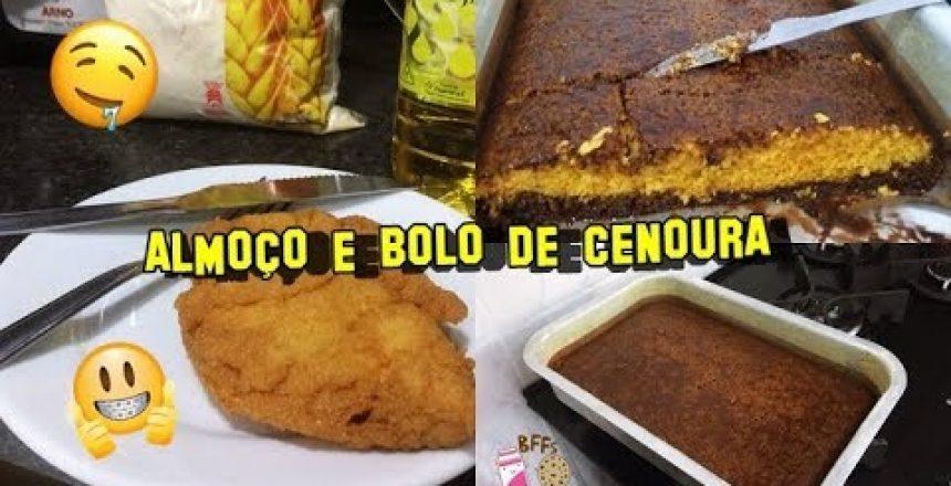 NOSSO ALMOÇO FIZ BOLO DE CENOURA