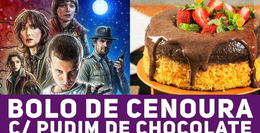 RECEITA DE BOLO DE CENOURA COM PUDIM DE CHOCOLATE INVERTIDO - Uma Pitada de Cultura Pop #03