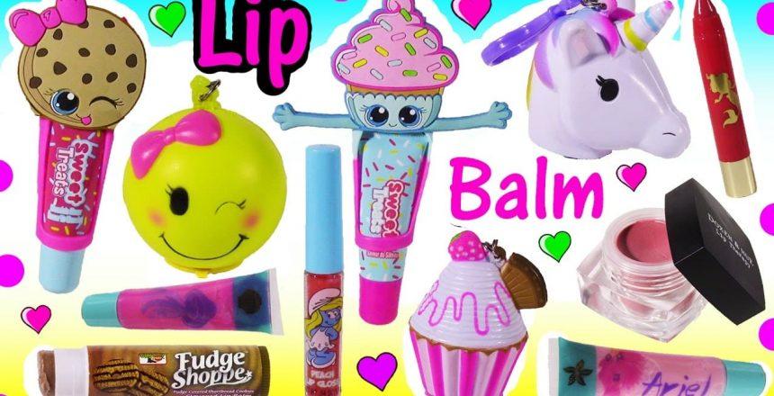 SQUISHY LIP BALMS! Lip Balm BONANZA! Unicorn Emoji Cupcake Stress Relievers! LIP GLOSS! FUN Review