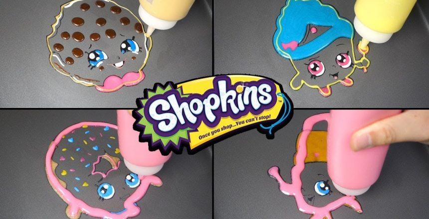Shopkins Pancake Art - Kooky Cookie, Cupcake Queen, Lippy Lips / Satisfying Video For Kids
