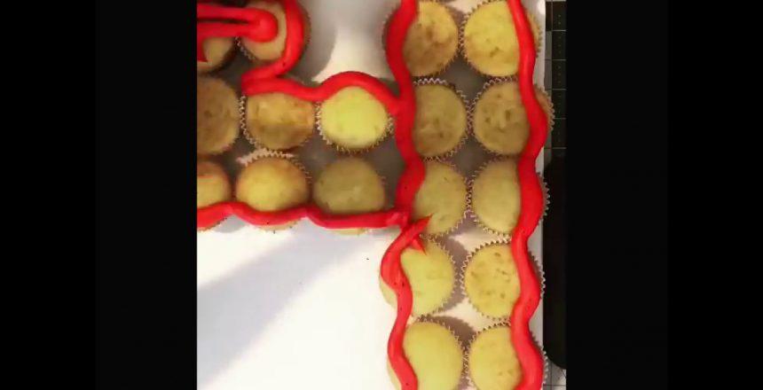 Spider-Man cupcake cake