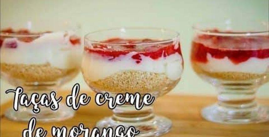 TAÇA DE CREME COM MORANGOS E FAROFA DOCE! MUITO FÁCIL!