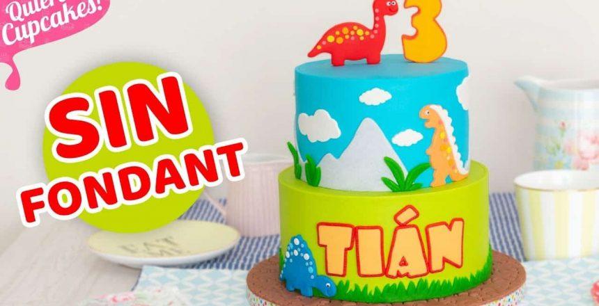 TARTA DECORADA SIN FONDANT | TEMÁTICA DINOSAURIOS IDEAL PARA FIESTAS INFANTILES | Quiero Cupcakes!