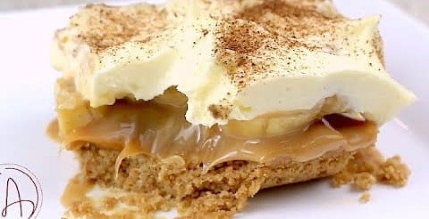 TORTA BANOFFEE (BANANA COM DOCE DE LEITE) NA TRAVESSA - SUPER FÁCIL E DELICIOSA - Isamara Amâncio