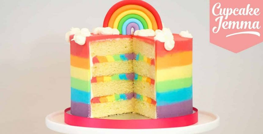 The Ultimate Rainbow Cake Recipe! | Cupcake Jemma