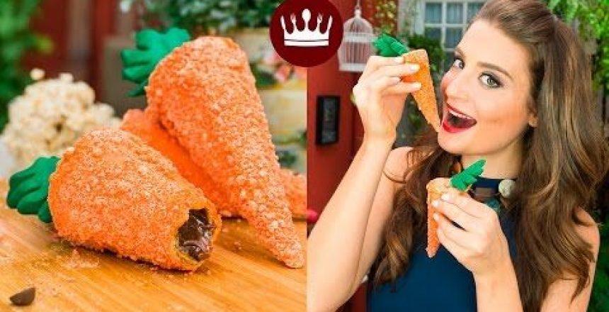 COM CASQUINHA DE SORVETE: CENOURA CROCANTE (RECHEADA C/ CHOCOLATE!)   Cozinha Bom Gosto   Gabi Rossi