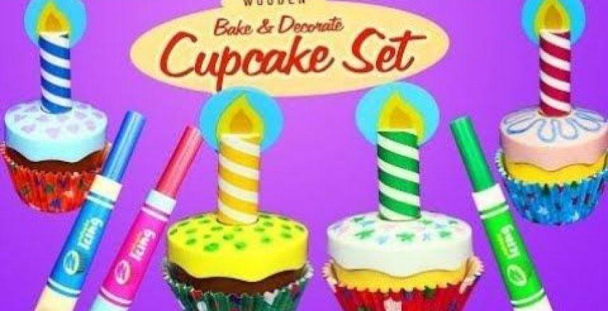 Cupcake Decorating & Frozen Elsa & Disney Princess Cinderella using the Melissa & Doug Cupcake Set
