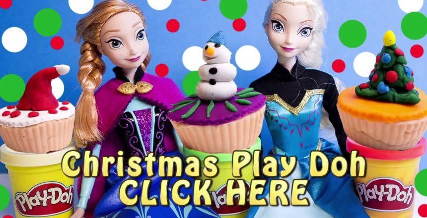 Frozen Christmas Cupcakes Decorations DIY Play Doh Cupcake Playset How To make Playdough Xmas Cakes