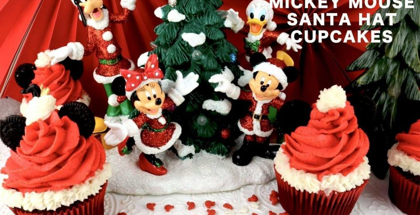 Mickey Mouse Santa Hat Cupcakes by Two Sisters Crafting