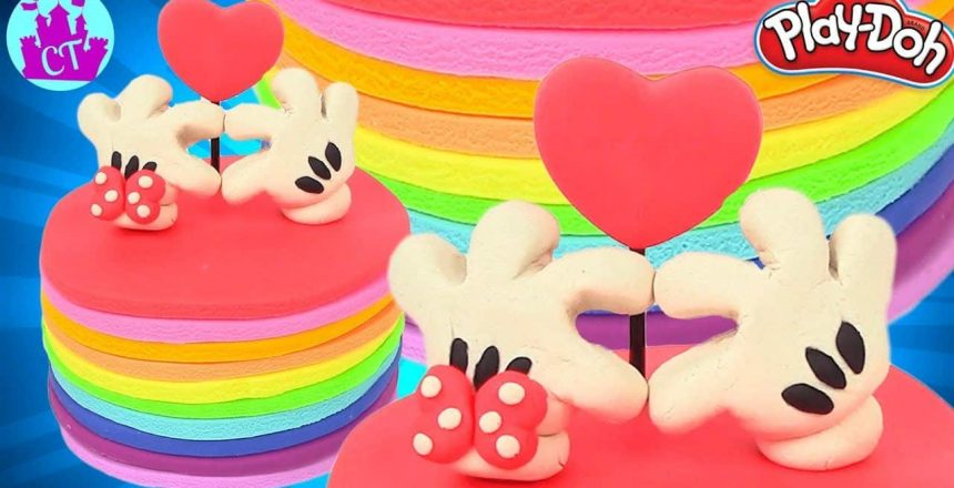 Play Doh Mickey Mouse and Disney Cake Rainbow Learning Diy Castle Toys